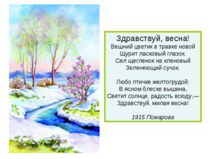 Здравствуй, весна! Вешний цветик в травке новой Щурит ласковый глазок. Сел ще