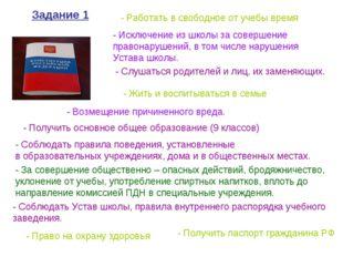 - Жить и воспитываться в семье - Получить паспорт гражданина РФ - Работать в