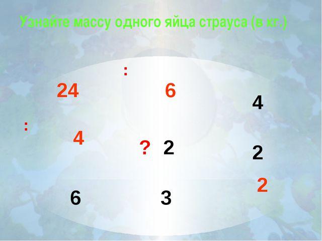Узнайте массу одного яйца страуса (в кг.) 4 2 2 6 3 : : ? 24 6 4 2