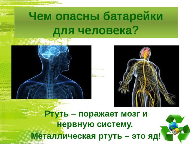 Чем опасны батарейки для человека? Ртуть – поражает мозг и нервную систему. М...