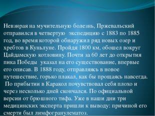 Невзирая на мучительную болезнь, Пржевальский отправился в четвертую экспедиц
