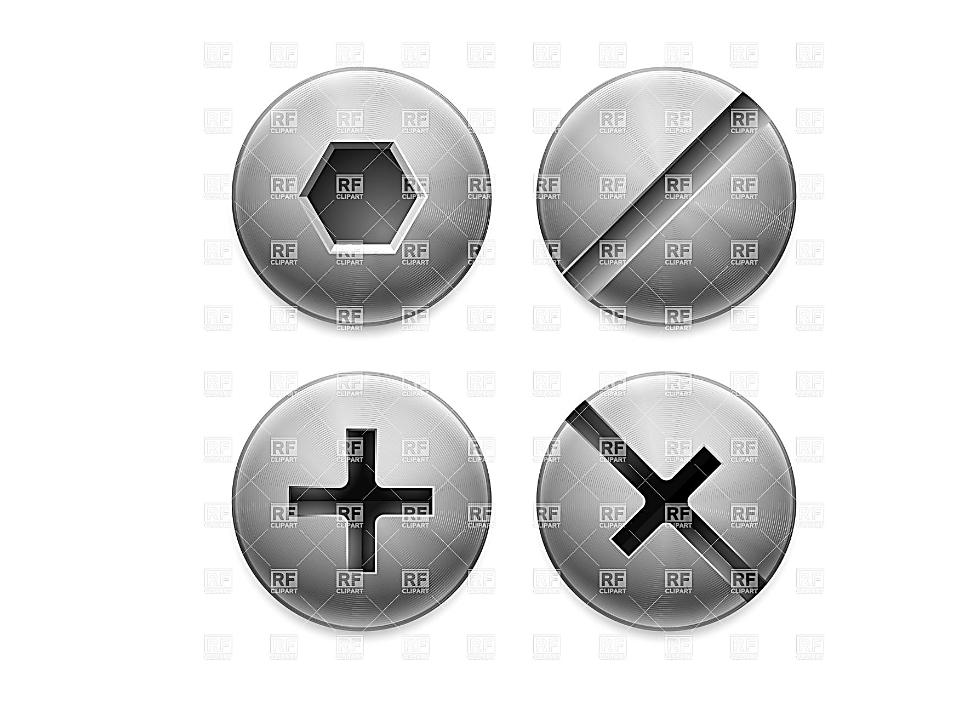 Головки шурупов имеют шлицы: прямые, шестигранные, крестообразные канавки для...