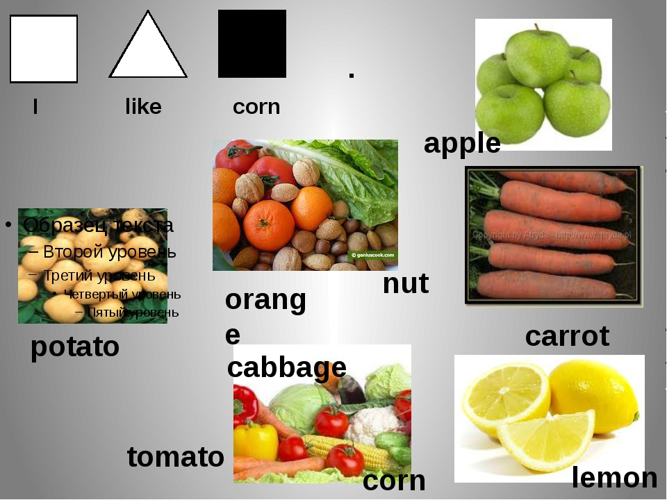 . I like corn potato nut orange tomato corn apple carrot cabbage lemon