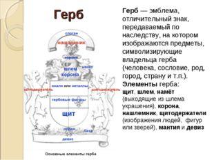 Герб — эмблема, отличительный знак, передаваемый по наследству, на котором из