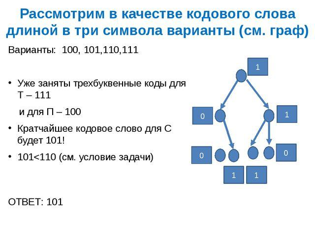 Рассмотрим в качестве кодового слова длиной в три символа варианты (см. граф)...