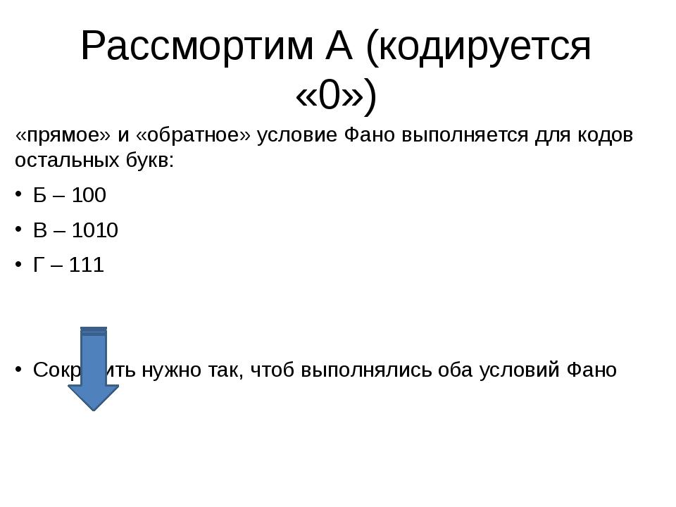 Рассмортим А (кодируется «0») «прямое» и «обратное» условие Фано выполняется...
