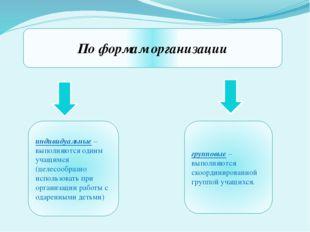 По формам организации индивидуальные – выполняются одним учащимся (целесообра