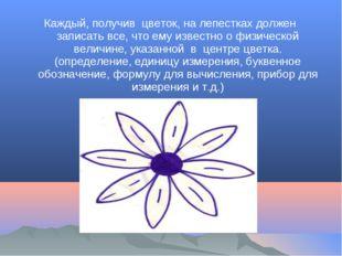 Каждый, получив цветок, на лепестках должен записать все, что ему известно о