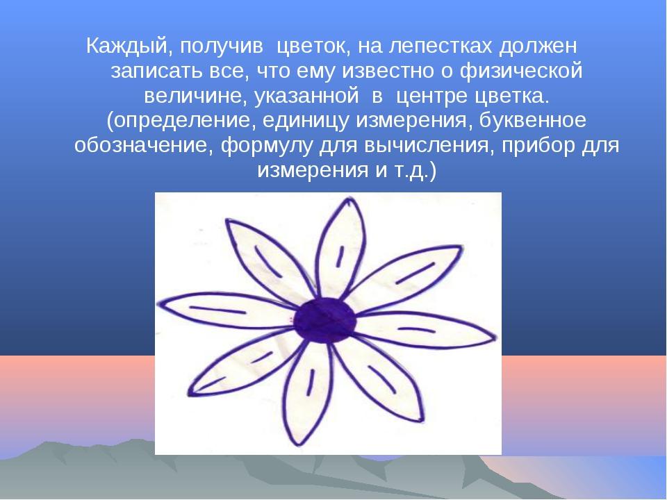 Каждый, получив цветок, на лепестках должен записать все, что ему известно о...