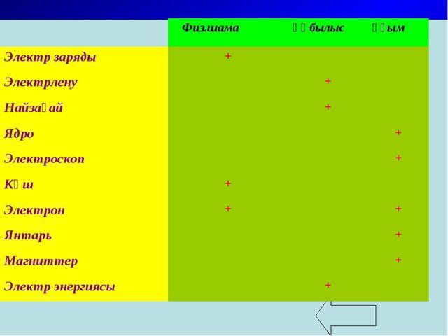 Физ.шамақұбылысұғым Электр заряды+ Электрлену+ Найзағай+ Ядро...