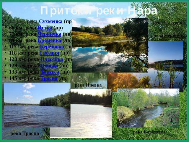 1,5 км: рекаСухменка(пр) 66 км: рекаИстья(пр) 77 км: рекаЧерничка(лв)...