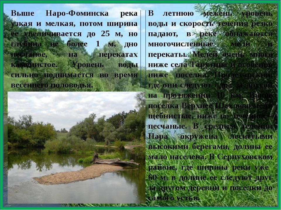 Выше Наро-Фоминска река узкая и мелкая, потом ширина ее увеличивается до 25...