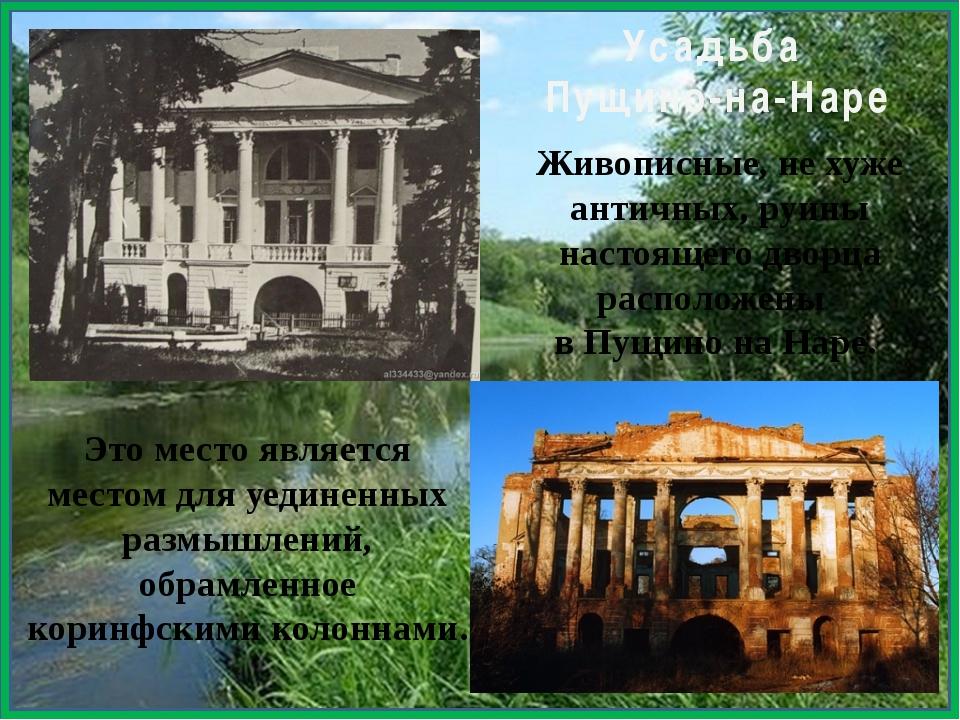 Живописные, не хуже античных, руины настоящего дворца расположены в Пущино н...