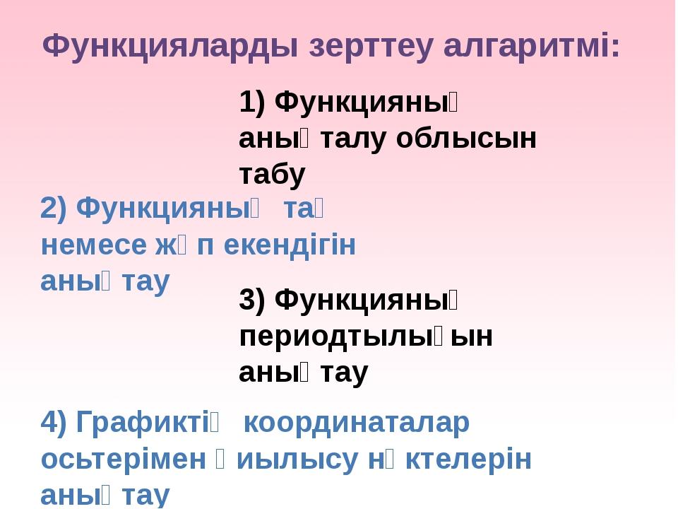 Функцияларды зерттеу алгаритмі: 1) Функцияның анықталу облысын табу 2) Функци...