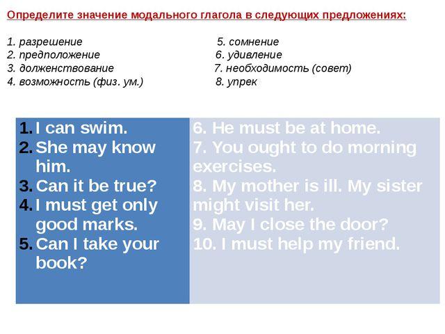 Определите значение модального глагола в следующих предложениях: 1. разрешени...