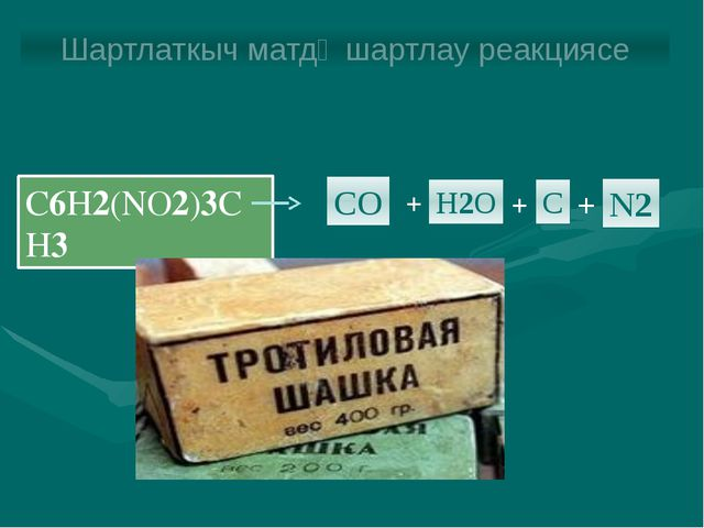 C6H2(NO2)3CH3 CO H2O C N2 + + + Шартлаткыч матдә шартлау реакциясе