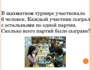 В шахматном турнире участвовало 6 человек. Каждый участник сыграл с остальным