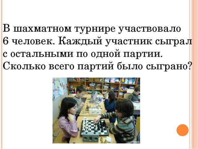В шахматном турнире участвовало 6 человек. Каждый участник сыграл с остальным...