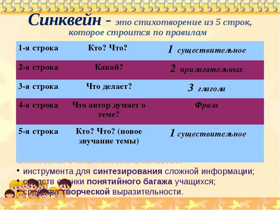 Синквейн - это стихотворение из 5 строк, которое строится по правилам Синквэй...