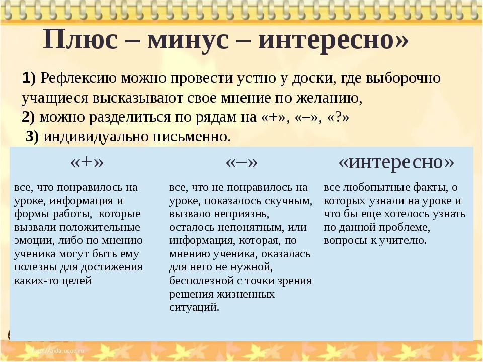 Плюс – минус – интересно» 1) Рефлексию можно провести устно у доски, где выбо...