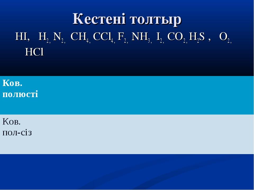 Кестені толтыр НI, H2 , N2 , CH4 , CCl4 , F2 , NH3 , I2 , CO2 , H2S , O2 , HC...