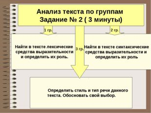Анализ текста по группам Задание № 2 ( 3 минуты) Найти в тексте лексические с