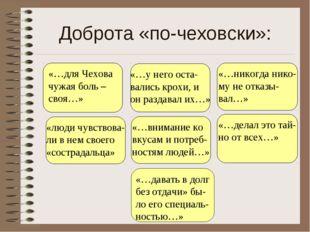 Доброта «по-чеховски»: «…у него оста- вались крохи, и он раздавал их…» «люди