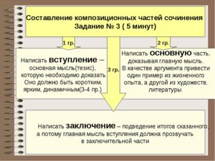 Составление композиционных частей сочинения Задание № 3 ( 5 минут) Написать в