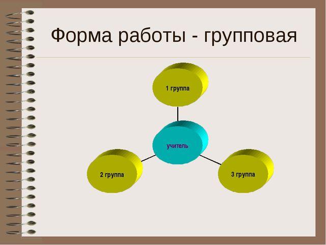 Форма работы - групповая