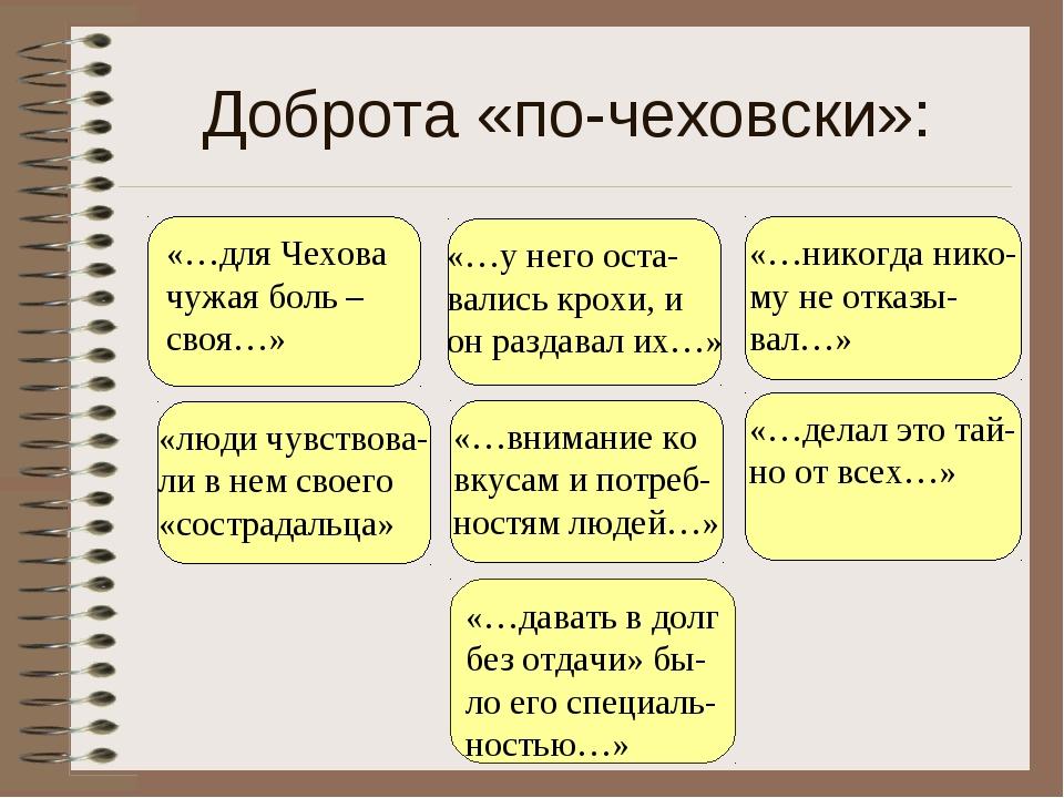 Доброта «по-чеховски»: «…у него оста- вались крохи, и он раздавал их…» «люди...