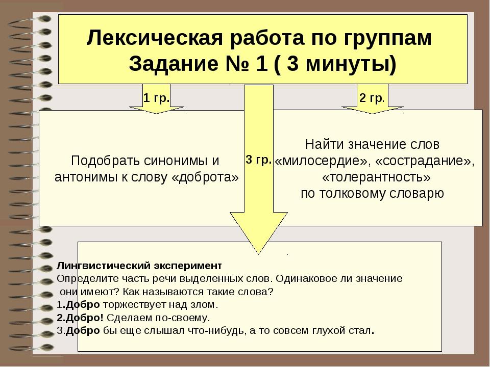 Лексическая работа по группам Задание № 1 ( 3 минуты) Подобрать синонимы и ан...