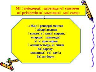 Мұғалімдердің дарынды оқушымен жүргізілетін жұмысының мақсаты: « Жас өрендерд