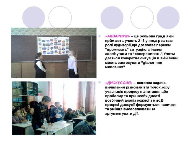 «АКВАРИУМ» – це рольова гра,в якій прймають участь 2 -3 учня,а решта в ролі а...