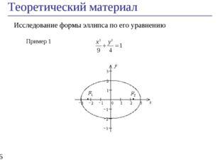 Теоретический материал * Исследование формы эллипса по его уравнению Пример 1