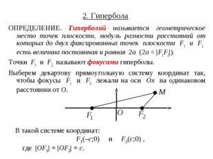 2. Гипербола ОПРЕДЕЛЕНИЕ. Гиперболой называется геометрическое место точек пл