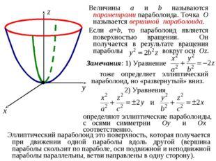 Величины a и b называются параметрами параболоида. Точка O называется вершино