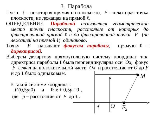3. Парабола Пусть ℓ – некоторая прямая на плоскости, F – некоторая точка плос...