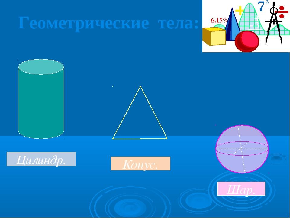 Геометрические тела: Цилиндр. Конус. Шар.