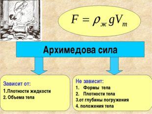 Архимедова сила Зависит от: 1.Плотности жидкости 2. Объема тела Не зависит: Ф