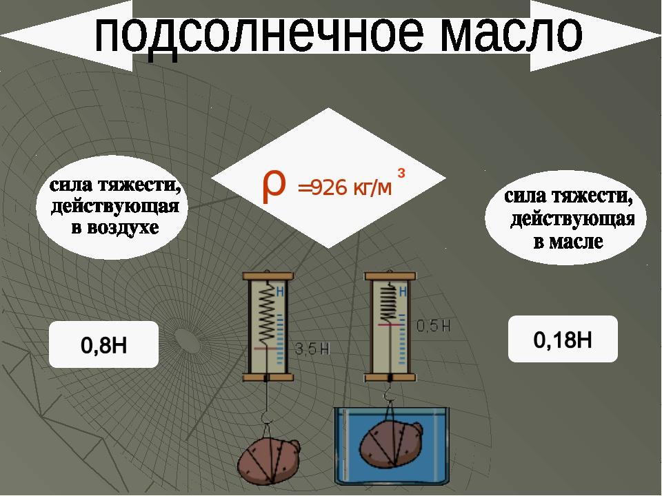 ρ =926 кг/м 3