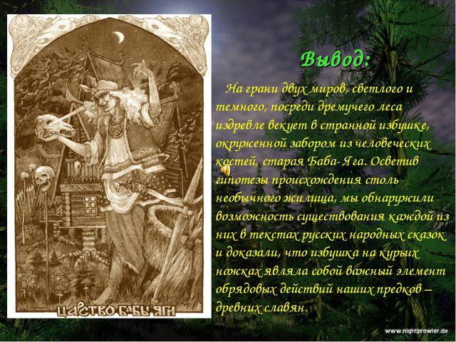 Вывод: На грани двух миров, светлого и темного, посреди дремучего леса издрев...
