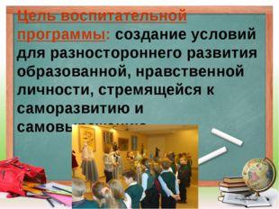 Цель воспитательной программы: создание условий для разностороннего развития