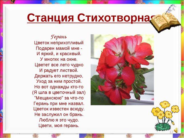 Станция Стихотворная * Герань Цветок неприхотливый Подарен мамой мне - И ярки...