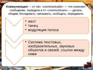 Коммуникация— от лат. «communicatio»— что означает сообщение, передача и от