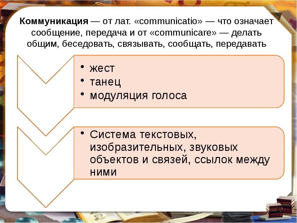 Коммуникация— от лат. «communicatio»— что означает сообщение, передача и от...