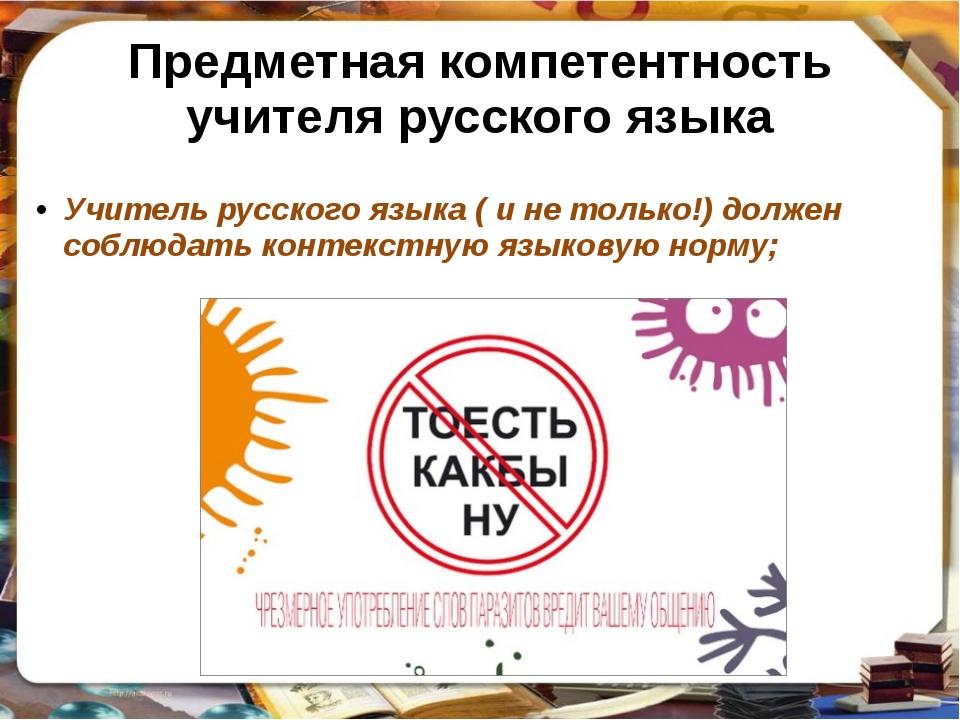 Предметная компетентность учителя русского языка Учитель русского языка ( и н...