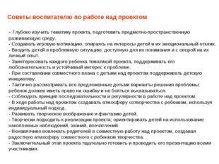 Советы воспитателю по работе над проектом - Глубоко изучить тематику проекта