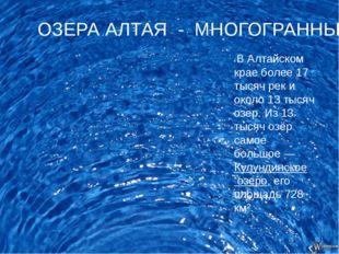 В Алтайском крае более 17 тысяч рек и около 13 тысяч озер.Из 13 тысяч озёр