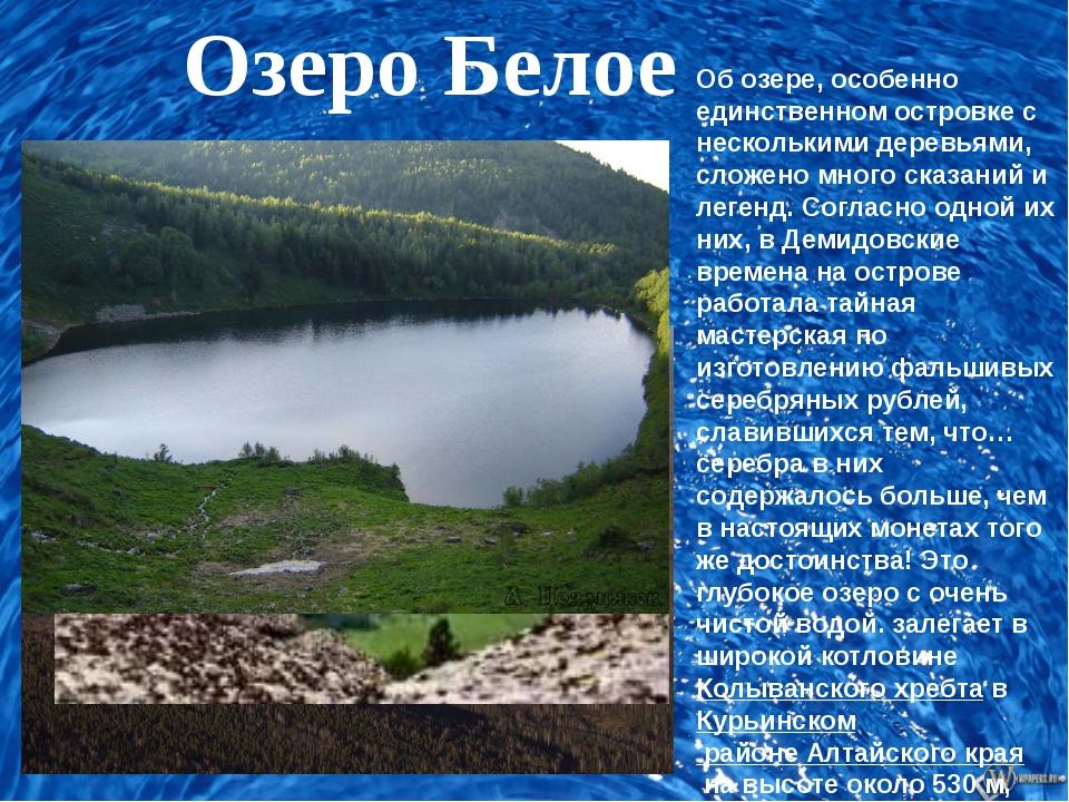 Об озере, особенно единственном островке с несколькими деревьями, сложено мн...