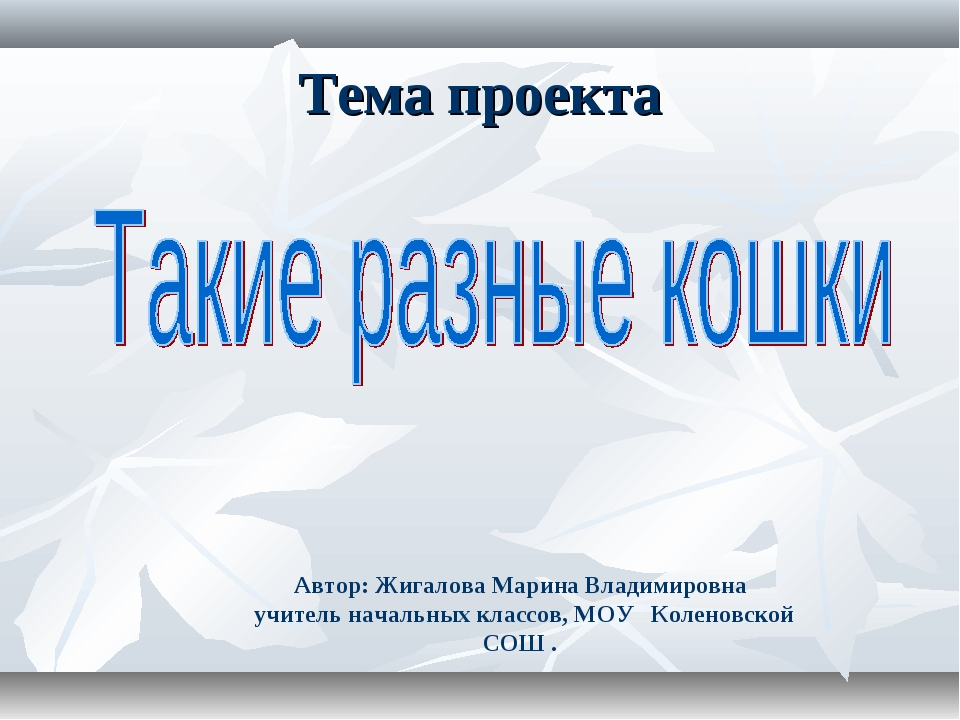 Тема проекта Автор: Жигалова Марина Владимировна учитель начальных классов, М...
